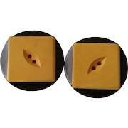 Black and Cream BAKELITE Cookie Buttons Set 2
