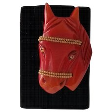 Vintage Overdyed Large Horse Head with Brass Decoration Pin Brooch