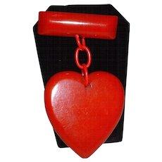 Valentine's Red BAKELITE Dangling Heart Pin Brooch