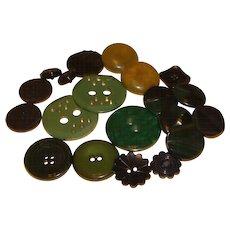 20 Misc. Green BAKELITE Buttons