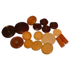 17 Misc. Brown BAKELITE Buttons