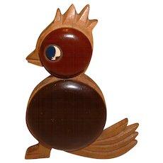 Whimsical Bakelite and Wood Figural Bird Pin Brooch