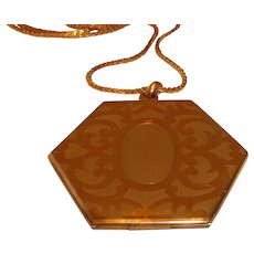 """Vintage Gold Filled 2"""" Octagonal Locket with Chain"""