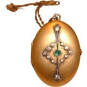 Vintage Gorgeous Nouveau Gold Filled Locket with Chain