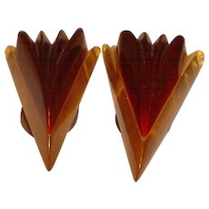 Great Pair Apple Juice Laminated Two Tone BAKELITE Dress Clips