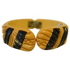 Cream Laminated with Black BAKELITE Clamper Bracelet