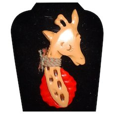 Amazing Wonderful Bakelite Giraffe Figural Book Piece Pin Brooch