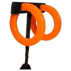 Huge Vintage Orange BAKELITE Hoop Clip on Earrings