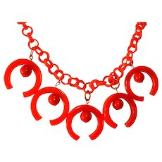 Red Bakelite Dangle Charm Necklace