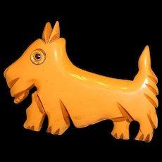 Vintage Scottie Dog BAKELITE Figural Pin Brooch
