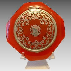 Vintage Red Octagonal BAKELITE and Silver Embossed Compact