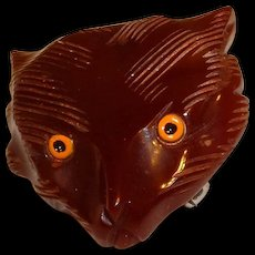 Bakelite Figural Fox Head Pin Brooch