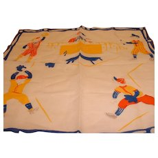 Vintage 1950's Child's Hankie Handkerchief Baseball Bats and Kids
