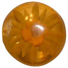 Vintage Apple Juice Prystal Reverse Carved and Painted BAKELITE Button