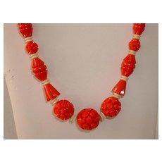 Vintage 1940's Celluloid Carved Red Beads Necklace Bakelite Era