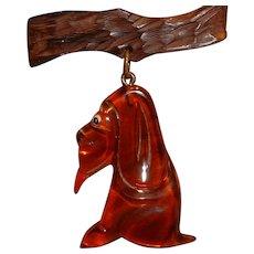 Vintage Root Beer Prystal Bakelite and Wood Hanging Hound Dog Pin Brooch
