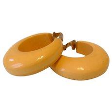 Cream Bakelite Hoop Clip Earrings