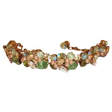Stunning Signed Vintage Austrian Faux Pearl and Green Moonstone, Green Rhinestone and A/B Stone Link Bracelet