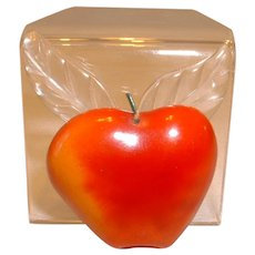 Overdyed Figural BAKELITE Apple with Lucite Leaves Pin Brooch