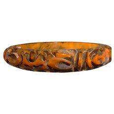 Vintage End of Day Carved BAKELITE Bangle Bracelet