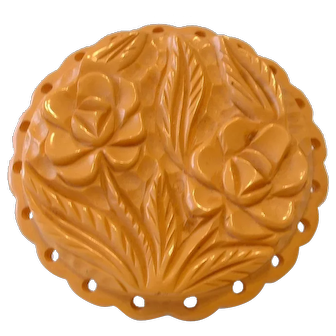 Vintage Cream Carved Round Double Flower with Doily Outer Design Pin Brooch