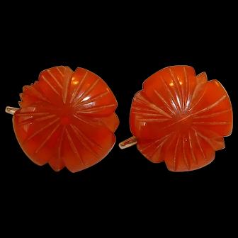 Vintage Deep Caramel BAKELITE Screwback Earrings