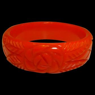 Red Carved Bakelite Bangle Bracelet