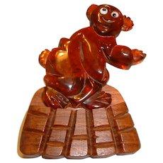 Vintage BAKELITE Prystal and Wood Dancing Bear on Platform Pin