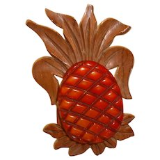 Vintage Bakelite Pineapple and Wood Figural Pin Brooch