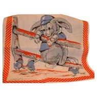 Vintage Cotton Designer Tom Lamb Hankie Baseball, Rabbit and Chicks