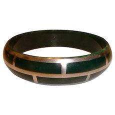 Vintage 1930s Celluloid Bangle with Sterling Silver Overlay