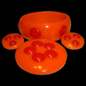 Vintage Raised Dot Orange BAKELITE Bangle Pin and Earrings Set