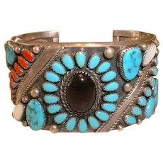 Native American Sterling Silver Turquoise and Other GemStones Cuff Bangle Bracelet