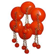 Vintage Orange BAKELITE Encircled Discs with Dangling Balls Pin Brooch