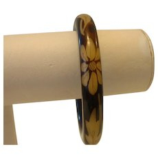 Vintage Celluloid Floral Painted Bangle Bracelet