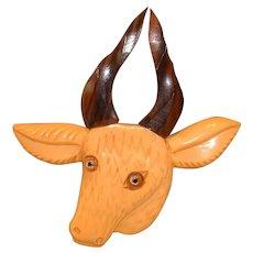 Vintage and WONDERFUL BAKELITE Figural Mountain Goat Huge with Wood Antlers Pin Brooch