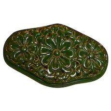Vintage Green Floral Carved Oval BAKELITE Pin Brooch