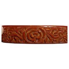 Vintage Carved Brown BAKELITE Floral Bar Pin Brooch