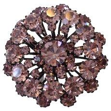 Vintage Austrian 4 Tiered Purple Rhinestone Japanned Pin Brooch