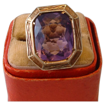 Vintage 1920's Facetted Amethyst Gemstone in 14K Gold Setting Ring