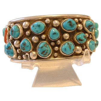 Vintage Gorgeous Navajo Native American Turquoise Signed Sterling Silver Cuff Bracelet