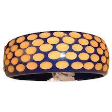 Blue and Cream Cut Back BAKELITE Hinged Clamper Bracelet