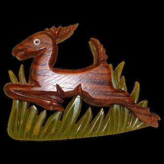 Vintage Figural BAKELITE and Wood Antelope Pin Brooch