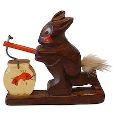 Vintage Bakelite and Wood Rabbit with Reverse Carved Fishbowl Pin Brooch