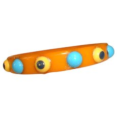 "Vintage Caramel Pop Art ""Eyes"" Inserts BAKELITE Bangle Bracelet"
