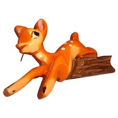 Vintage Martha Sleeper BAKELITE/ WOOD Disney Bambi Deer Pin Brooch