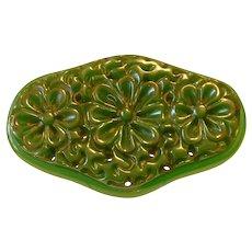 Vintage Large Green Carved Oval BAKELITE Pin Brooch