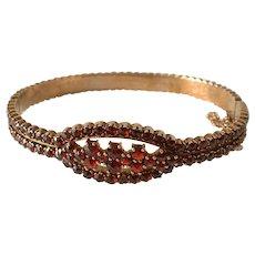 Vintage Bohemian GARNET 8k Cuff Bangle Bracelet