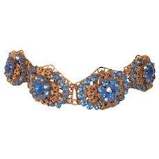 Vintage Czech Brass and Blue Glass Rhinestone Link Bracelet