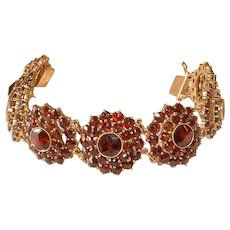 Vintage Marked 8K Gold Bohemian Czech GARNET Link Bracelet